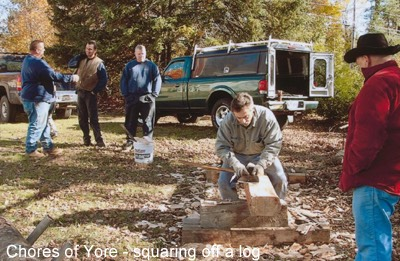 Chores of Yore - squaring off a log